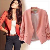 2014 Blazer Women Suit Blazer Brand Jacket OL Business Cotton Blending Foldable Sleeve Lining Vogue Blazers Free Shipping