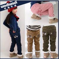 2014 new girls pants children winter warm  kids' fashion  corduroy  trousers casual style free shipping
