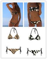 Sexy Leopard Push Up Neoprene Beach Bikini Vintage Triangle Swimwear Women Zipper Bikinis Set New 2014 Fashion Brand Swimsuit