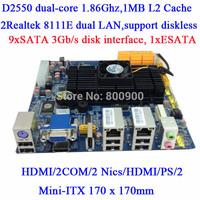 ATOM D2550 dual core motherboard NVR NAS storage server 10SATA mini itx motherboard 2 COM 2 LAN HDMI