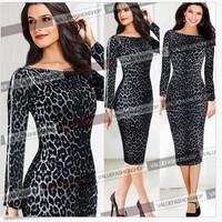 Leopard print women summer dress novelty zipper on sleeve pencil dress 2014 new fashion sexy OL bodycon Dresses free shipping