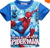 SY028 Free Shipping Cartoon Spiderman Children T Shirts Kids T-Shirts Cool Summer Short Sleeve Toddler Boy Cartoon Clothes Tees