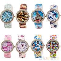 2014 Hot Selling Geneva Womens Girls Rhinestone Flower Printed Elastic Bracelet Wrist Watch 1OHG