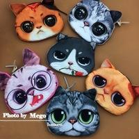 Wholesale 3D Cat design Coin Purses Fashion Zipper Coin Wallet Women floral Coin bag key holder 24pcs/Lot