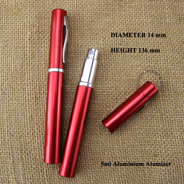 wholesale 100pcs/lot red 5ml D14*H136mm mini glass perfume atomizing spray bottle travel bottle pen design cosmetic container(China (Mainland))