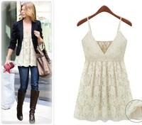 New Spring Summer 2014 Women Casual Lace Dress Super Mini Deep V Spaghetti Strap Vests Tops