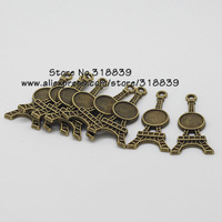 (30 pieces/lot) Antique Bronze Metal 8mm Round Eiffel Tower Cabochon Pendant Setting Jewelry Blank Findings 7543
