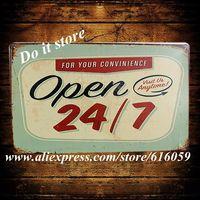 [ Do it ] Open 24/7 Tin sign  Metal Home Cafe Decor 20*30 CM B-217