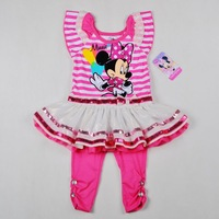 New 2014 girl clothing sets, cartoon minnie mouse girls clothes, pink, stripe dress + leggings suits 100% cotton, Free Shipping