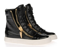 Free Shipping Men Brand Design Lace-up Gold Zipper High-top Leather Sneakers