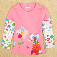 2014 New Girls Flower T Shirts Hot Fashion Nova Kids Brand Long Sleeve Floral Shirt Cotton Cute Girl's Autumn T-shirt ClothAT138