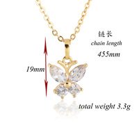 Hot Beautiful Gold Plated Crystal Azorite Butterfly Prom Party Wedding Necklace Pendant For Gift D0436