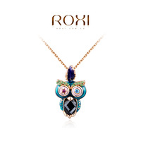 ROXI brand fashion rose gold plated owl pendant necklaces for women, Fashion Gold Jewelry, 2030405375b ,11.11 Promotion