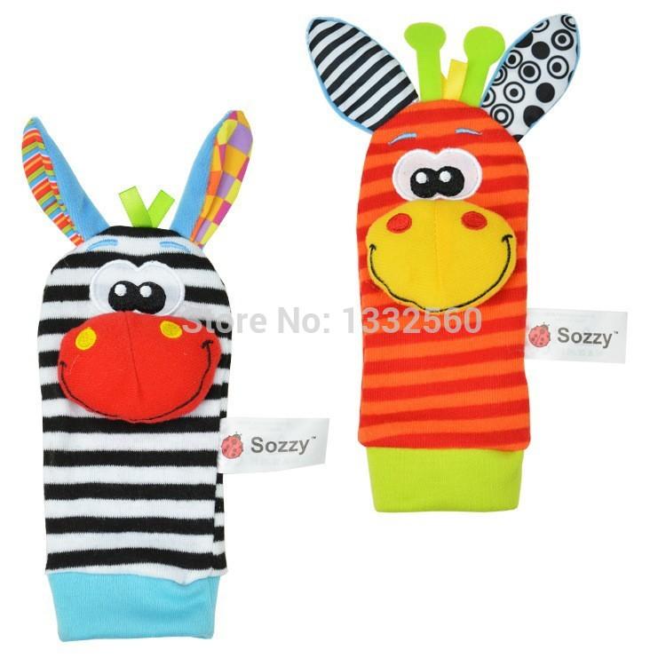 Sozzy chocalho do bebê brinquedos 2014 New Garden Bug Wrist Rattle pé meias Multicolor grátis frete(China (Mainland))
