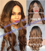 Stock two tone human hair lace wigs #1B/8 virgin peruvian ombre glueless lace front wig for black women free shipping