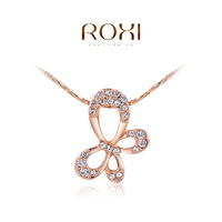 ROXI Summer Gift Genuine Austrian crystals Necklace White Gold Plated Flower Pendant Fashion Statement  Jewelry