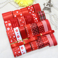 NEW Red diy handmade hairbows accessory material ribbon satin/grosgrain/cotton lace dot printed ribbon set  Free ship