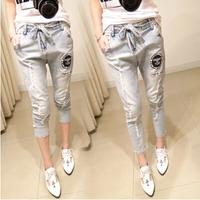 Harem Jeans pants for women fashion desigual jeans light blue hole slim jeans skinny pant elastic waist DROP shipping Nora05325