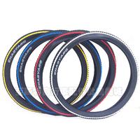 "26"" 1.95 mountain bike tyre blue red picotee"