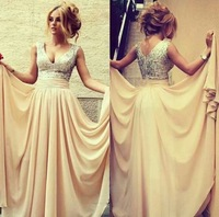 2014 Online Store High Quality New Fashion V-Neck Sleeveless Champagne Sequin Chiffon Draped Formal Evening Dress