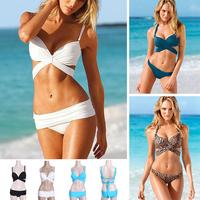2014 new summer Big breasted thick chest pad bikini set 2 PCS small chest bikini swimsuit swimwear vintage bathing beach triangl