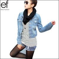 Lanluu New Spring Summer 2014 Vintage Denim Jacket Short Long-sleeve Cardigan Coat Jeans Jacket Women SQ538