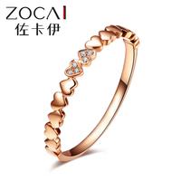 ZOCAI Real 18K rose gold 0.012 ct certified genuine diamond wedding women ring I-J / SI Genuine diamond anniversary fine jewelry