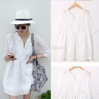 2014 summer women fashion fresh sweet lace flower chiffon perspective loose cute dress half sleeve plus size casual mini dress
