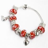 925 silver snake chain bracelet charm bracelet and glass beads bracelet for women