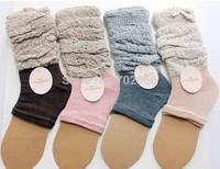 2014 burn out 2 tone Ruffle Lace Trim Cotton Knit leg warmers Boot Topper Socks Stocking 4 colors fashion Korea trend #3692