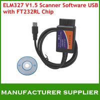 ELM327 V1.5 Scanner Software USB Plastic with FT232RL Chip ELM 327 OBDII/OBD2 Auto Diagnostic Scanner Tool Reader Free Shipping