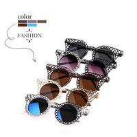 New 2014 Women Sunglasses Vintage Lace Hollow Grid Sun Glasses Metal Arms Blue Coating Oculos De Sol Cat Eye Glasses