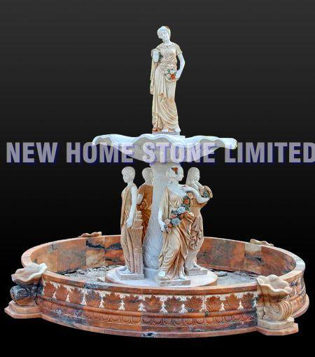 pedra de mármore estátuas figura escultura de jardim -de-rosa naturais e fontes(China (Mainland))