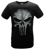 Cool fashion THE PUNISHER  Skull t-shirt the punisher slim black color short sleeve t shirt women men basic top