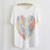 New 2014 summer style thin plus size loose batwing sleeve women's T-shirt Cartoon feather print Top Tees