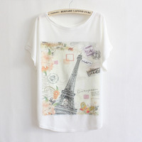 New 2014 summer And spring Batwing sleeve plus size women t-shirt Fashion Eiffel Tower printed tees thin loose t shirts women bl