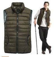 2014 new arrival men's clothing mandarin collar cotton vest fashionable casual cotton coat ,Black/Khaki color FREE SHIPPING