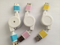 Cheap free Shipping 3 pcs Colorful Retractable USB 3.0 Data Sync Charger Cable For Samsung Galaxy Note 3 USB Connector