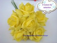 Free Shipping!!! 12bouquets/lot Artificial Foam Rose Flower Wedding Flower Bouquet Wedding Decoration,9 Colors For Selection!!