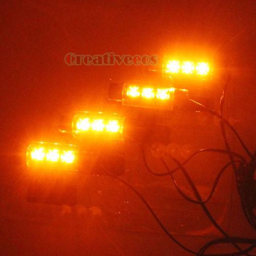 Einen Satz 4x 3 led autoladekabel 12v die innendekoration 4in1 Atmosphäre Boden lampe( Show orange Licht)