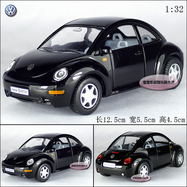 New Volkswagen 1:32 Beetle Coupe Diecast Model Car Black Toy collection B153a(China (Mainland))