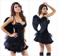 Eudora Brand 2014 New Feminina Fantasia Cute Sexy Red Girls Bodycon Ball Gown Mini Dress Cosplay Costume Black Dress With Wing