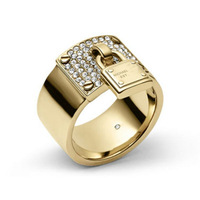 2014 New. Fashion quality copper material crystal LOCK ring for women