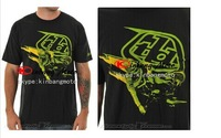 High quality 2014 New arrival Troy Lee Designs Sam Hill T-Shirt Black-Blue/Black-Green&Black Helmet T-Shirt 100%cotton M -XXLDER