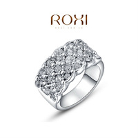 ROXI Christmas Gift Crystal Zircon Man-made Fashion Platinum Gold Plated Circle Lots Zircon Finger Ring Silver Jewelry