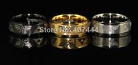 Free Shipping USA UK Canada Russia Brazil Hot Sales 8MM Steps Matte Top Gold/Black/Silver Legend of Zelda Tungsten Wedding Rings