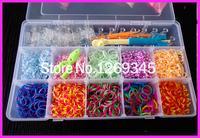 2400PCS 10 COLORS DIY Loom Bands Kit Set Refill TrendyTwistz Bandz +120 S-clip+1Original Hook+1 Loom + For Baby gift