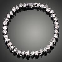 Aliexpress Sale Fashion 2014 Bracelet Platinum Plated Chain Bracelete Crystal CZ Bracelets For Women/Girl Free shipping