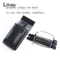 Lovey new fashion metal frame folding reading glasses men women with case portable presbyopic magnifier gift for elder parents