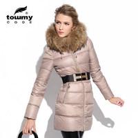 Miss Europe 2014 new women's down jacket and long sections Slim coat raccoon fur collar women